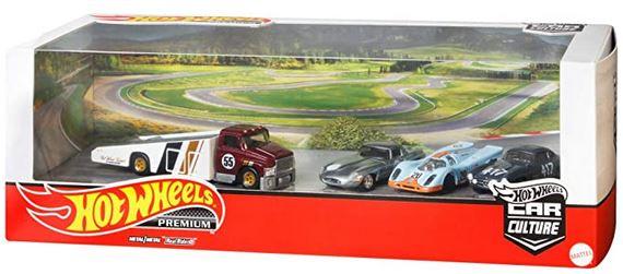 """""""ホットウィール(Hot Wheels) プレミアム コレクターセット""""""""Iconic Race Cars"""""""" ジャガー・ライトウェイト・E-タイプ(1台) ポルシェ 917K(1台) メルセデス・ベンツ 300SL(1台) キャリーオン(1台) 986D-GMH39"""""""