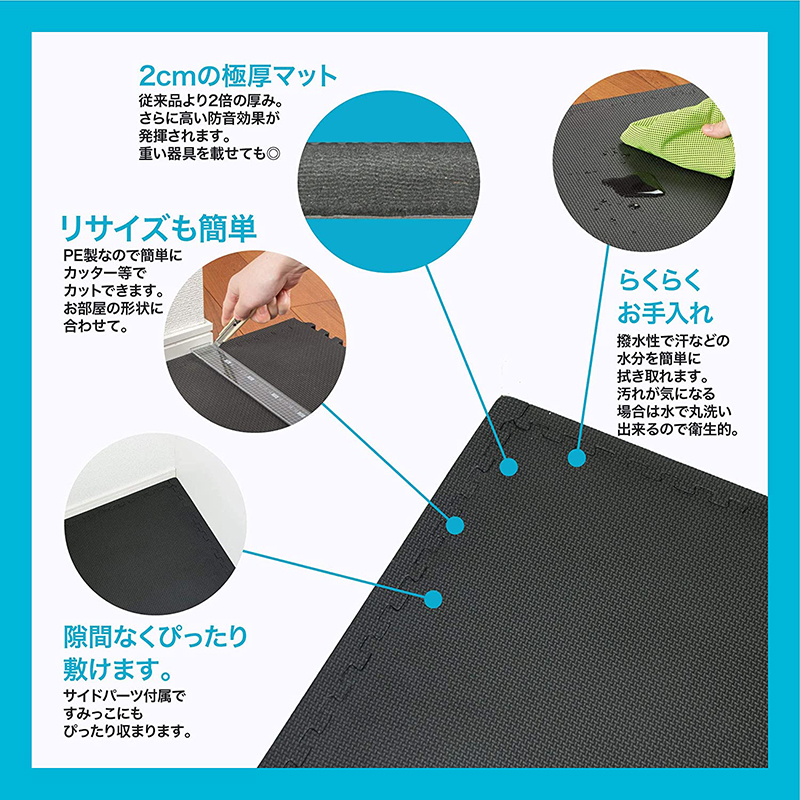 【Amazon限定ブランド】ジョイントマット 厚さ20㎜ 高硬度クッション 45cm×45cm×8枚